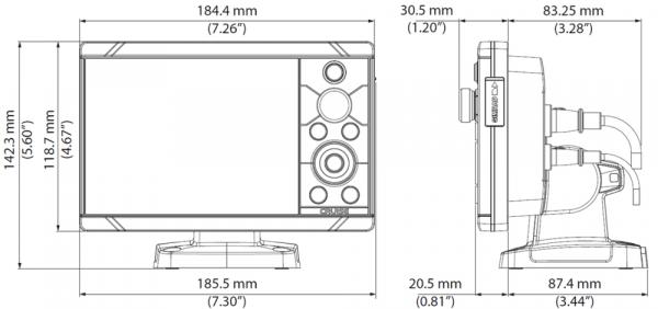 Simrad Cruise Multifunzione Eco e Gps 5 pollici disegni tecnici e misure