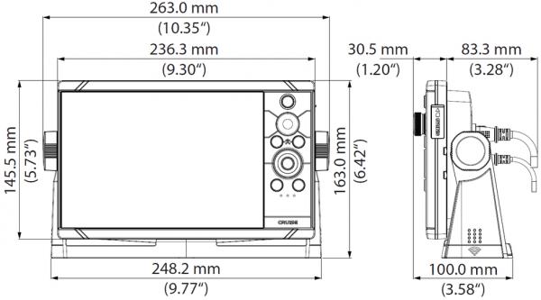 Simrad Cruise Multifunzione Eco e Gps 7 pollici disegni tecnici e misure