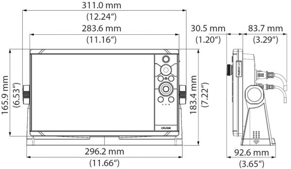 Simrad Cruise Multifunzione Eco e Gps 9 pollici disegni tecnici e misure