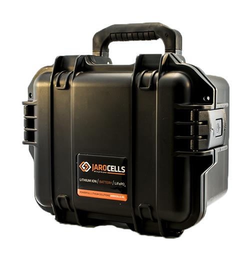 Batteria Jarocells in valigetta LITIO Li Fe Po4 50A 12V PORTATILE storm case nero