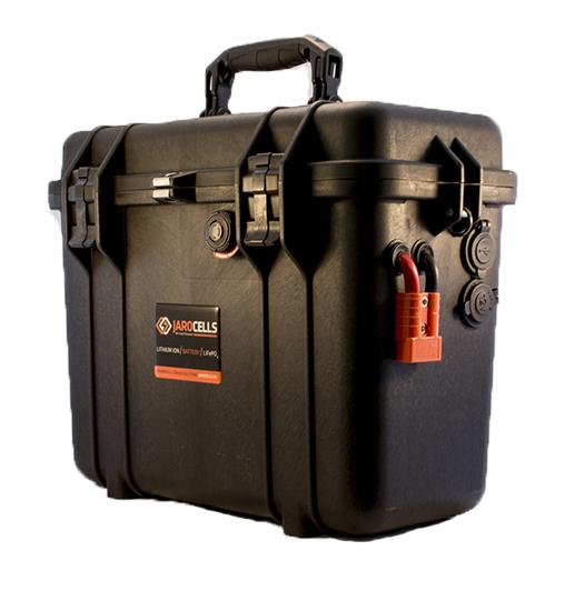 Batteria Jarocells in valigetta LITIO Li Fe Po4 50A 24V +12V PORTATILE top loader black